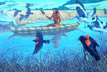 mural of canoe and birds